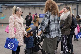 Linda Carter drops Ollie Carter at school in EastEnders