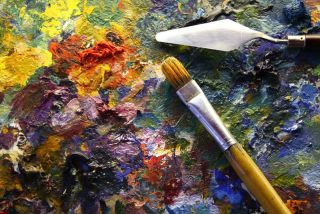 Stock Photo: palette with paintbrush and palette-knife