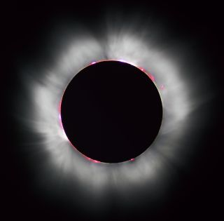 This is a picture of a solar eclipse. We would have used an actual photo of a black star, but there are no photos of black stars.