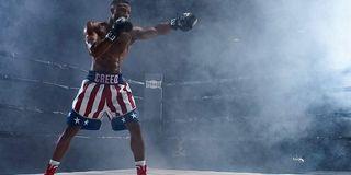 Creed II Michael B Jordan shadowboxing in the ring