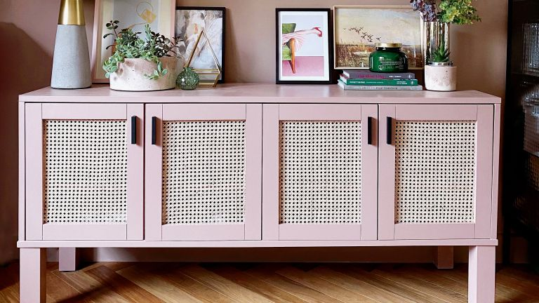 pink rattan cabinet DIY project