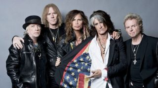 Tyler with his Aerosmith bandmates