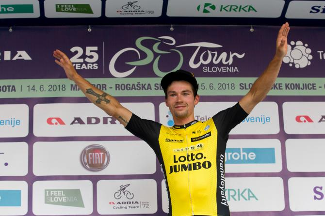 Primoz Roglic on the podium after winning stage 4 at Tour de Slovenie