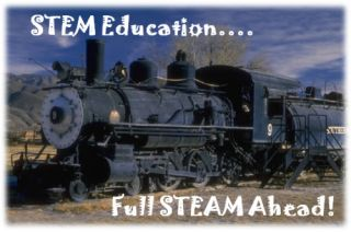 Locomotive with words: STEM education...Full STEAM Ahead