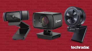 Et udvalg af de bedste webcams på markedet på en rød baggrund