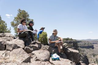 A team of astronaut candidates maps geologic features in northern New Mexico in the summer of 2018.