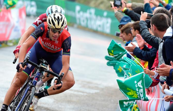 Vincenzo Nibali finishes stage 17 at the Vuelta
