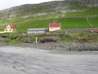 excavation showing evidence of human settlement on the Faroes.