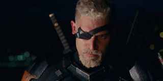 Joe Manganiello stares down the camera in Justice League