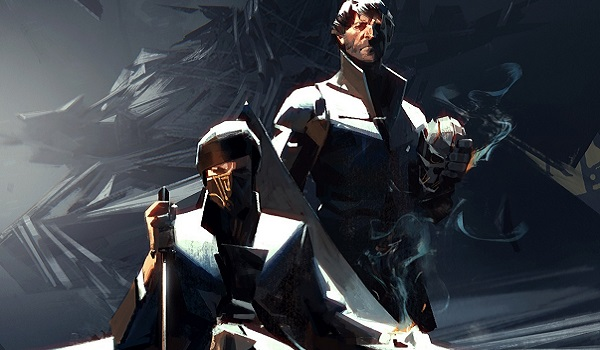 Emily sits on the throne, Corvo at her side in Dishonored 2