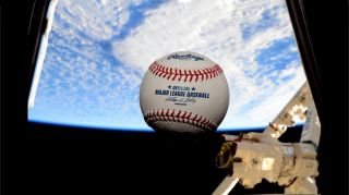 NASA astronaut Terry Virts snapped this photo of an MLB baseball floating in weightlessness on the International Space Station for opening day on April 6, 2015.
