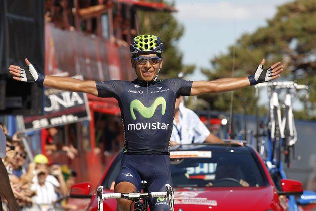 Nairo Quintana celebrates victory, Vuelta a Burgos 2013, stage 5
