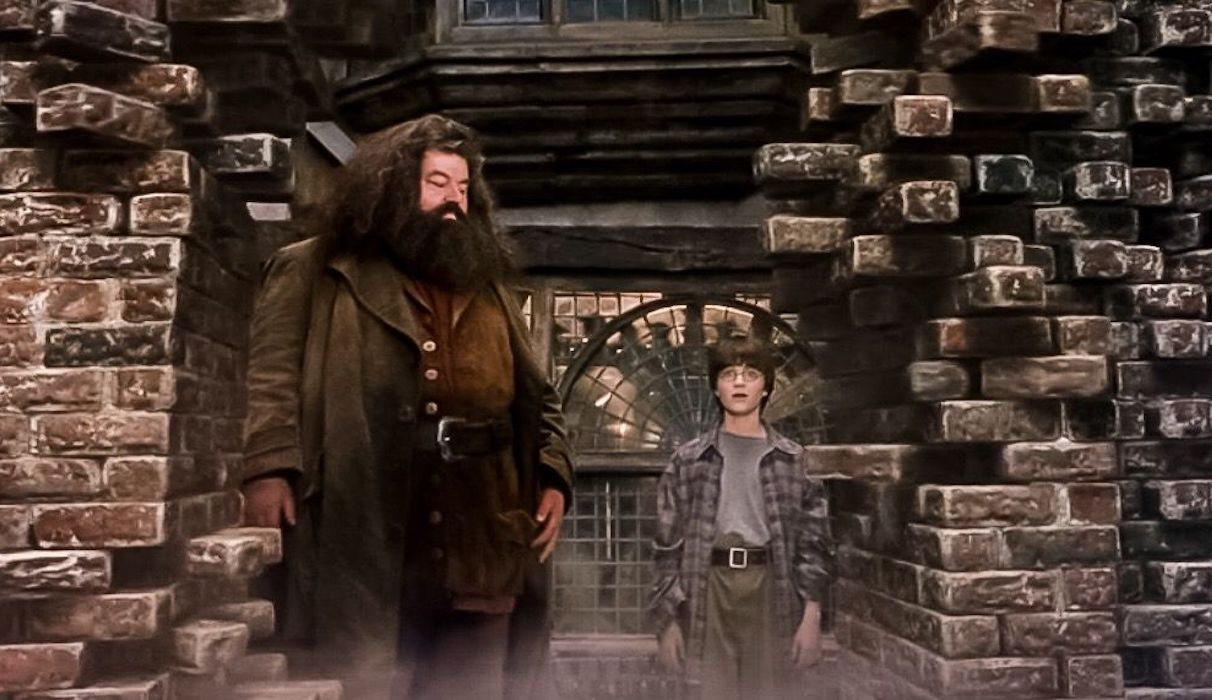 Hagrid and Harry Potter in Sorcerer's Stone brick wall moving