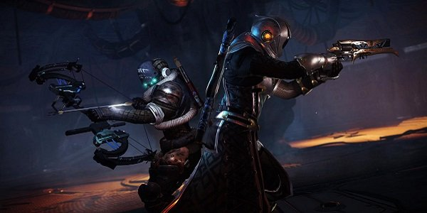 Guardians stand back to back in Destiny 2.