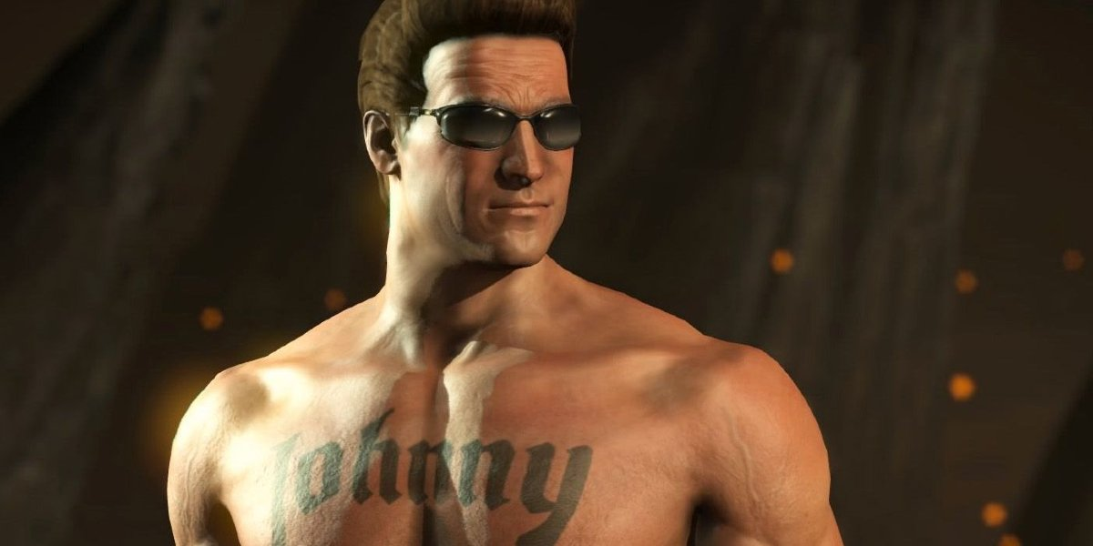 Johnny Cage stands shirtless in a Mortal Kombat game.