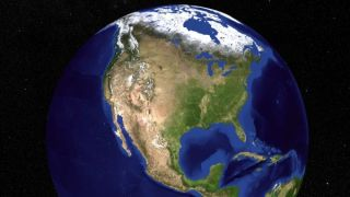 Blue marble Earth from above.