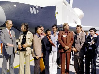 In 1976, NASA's space shuttle Enterprise rolled out of the Palmdale manufacturing facilities and was greeted by NASA officials and cast members from the 'Star Trek' television series. From left to right they are: NASA Administrator Dr. James D. Fletcher;
