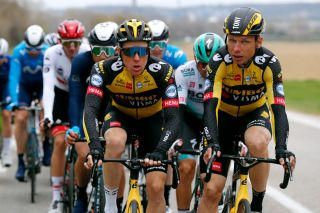 BOLLNE FRANCE MARCH 11 Steven Kruijswijk of Netherlands and Team Jumbo Visma Tony Martin of Germany and Team Jumbo Visma during the 79th Paris Nice 2021 Stage 5 a 200km stage from Vienne to Bollne ParisNice on March 11 2021 in Bollne France Photo by Bas CzerwinskiGetty Images