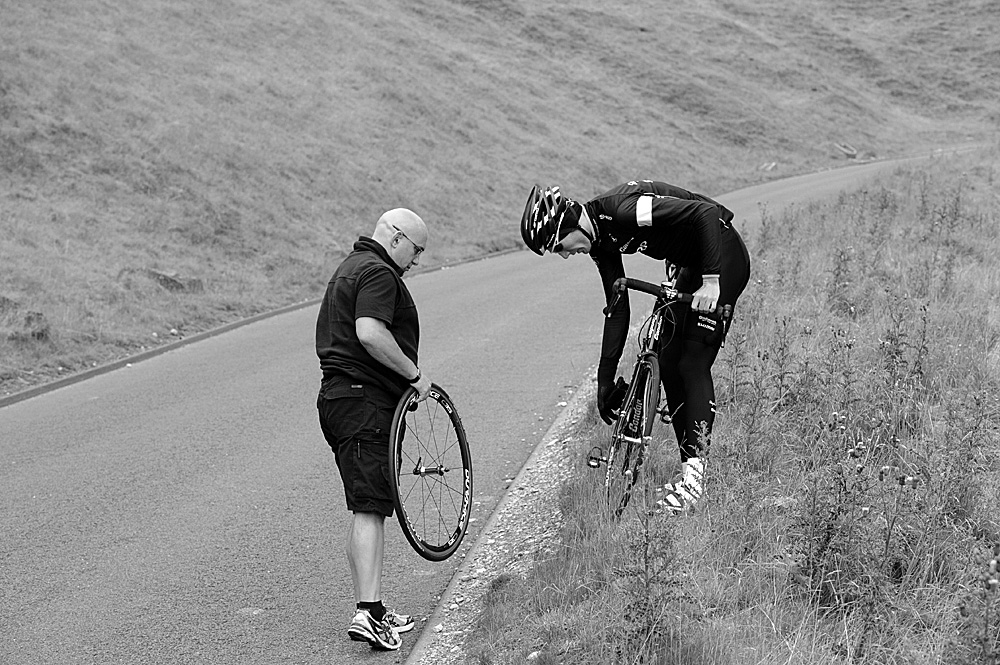 Wheel change, Rapha Condor Sharp training in Peak District, August 2011