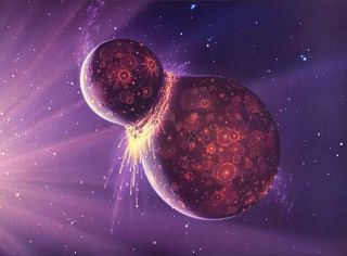 Artist's depiction of a collision between two planetary bodies. Such an impact between the Earth and a Mars-size object likely formed the moon.