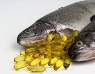 Fish oil supplements, with fish