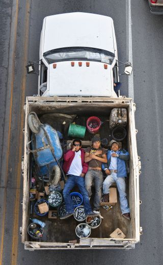 Mexican workers commute