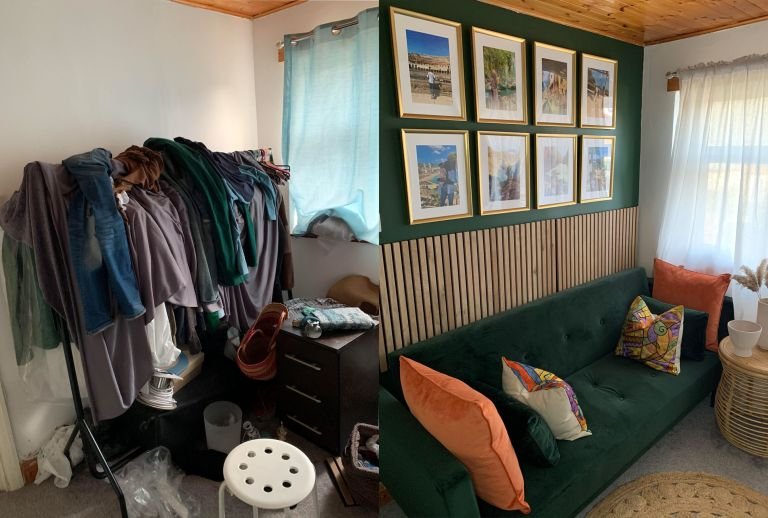 Before and after of second bedroom transformation
