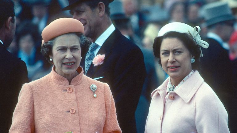 Queen Elizabeth ll and her sister Princess Margaret attend the Epsom Derby on June 06, 1979