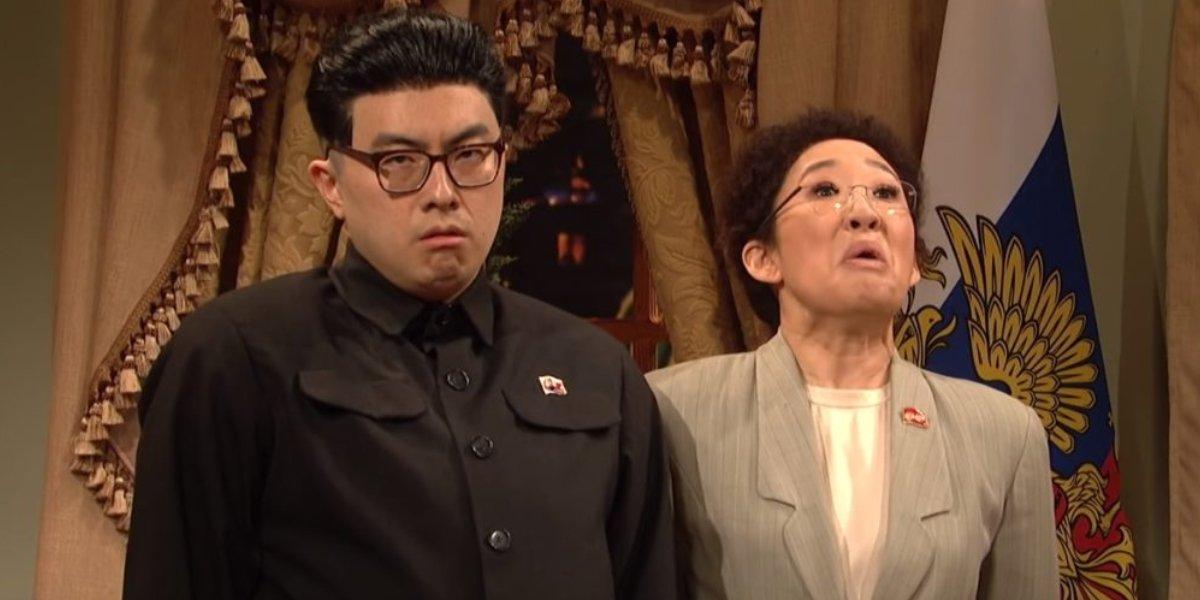 Bowen Yang and Sandra Oh on Saturday Night Live