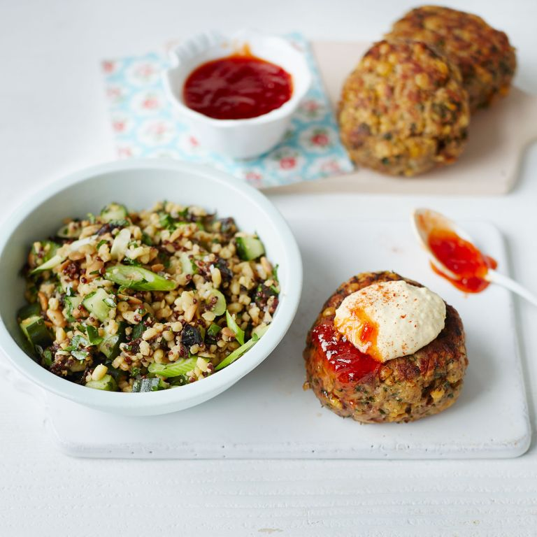 Lamb and Chickpea Burgers with Grain Salad