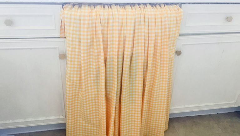 kitchen cabinet curtain in yellow check