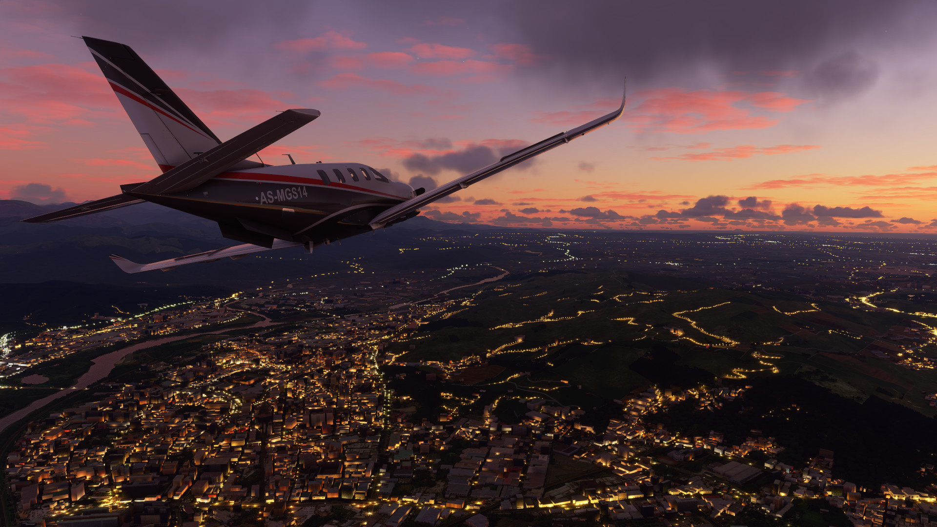 An aircraft flying over a city at sunset in Microsoft Flight Simulator