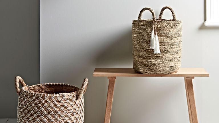wicker baskets used a hallway storage idea