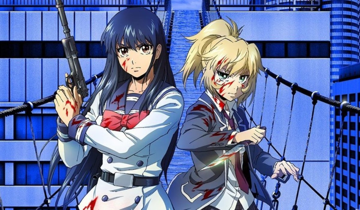 High-Rise Invasion two girls bloodied on a bridge