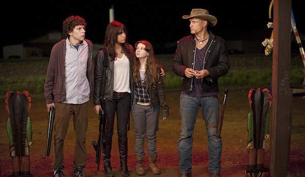 Jesse Eisenberg, Emma Stone, Abigail Breslin and Woody Harrleson in Zombieland