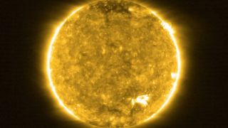 One of the first images taken by the ESA/NASA Solar Orbiter during its first close pass at the sun in 2020.