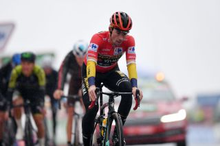 SALLENT DE GLLEGO SPAIN OCTOBER 25 Arrival Primoz Roglic of Slovenia and Team Jumbo Visma Red Leader Jersey Disappointment during the 75th Tour of Spain 2020 Stage 6 a 1464km stage from Biescas to Sallent de Gllego Aramn Formigal 1790m lavuelta LaVuelta20 La Vuelta on October 25 2020 in Sallent de Gllego Spain Photo by Justin SetterfieldGetty Images