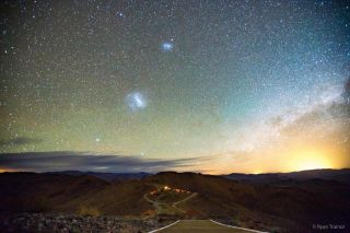 Large and Small Magellanic Clouds over Las Companas Observatory
