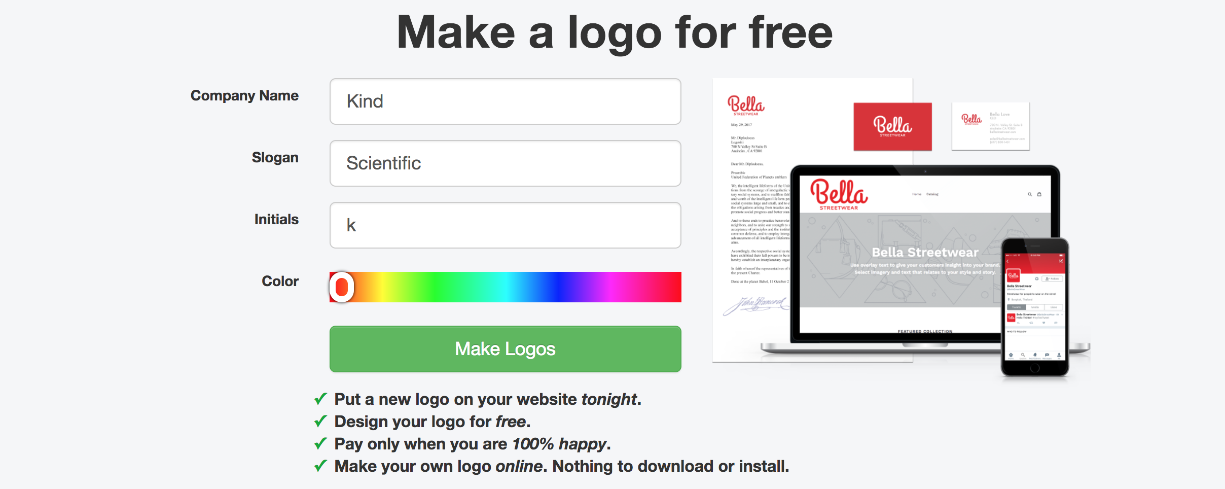 Logoshi logo design tool