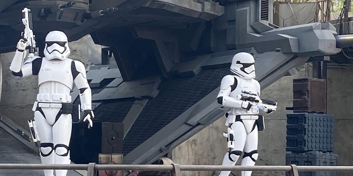 Stormtroopers inside Star Wars: Galaxy's Edge