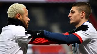PSG's Neymar, left, and Marco Verratti will take on Manchester United on Dec. 2 in a Champions League match.
