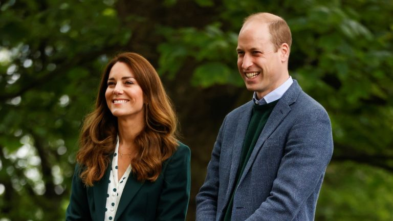Prince William and Kate Middleton, Duchess of Cambridge during their visit to Starbank Park on May 27, 2021 in Edinburgh, Scotland