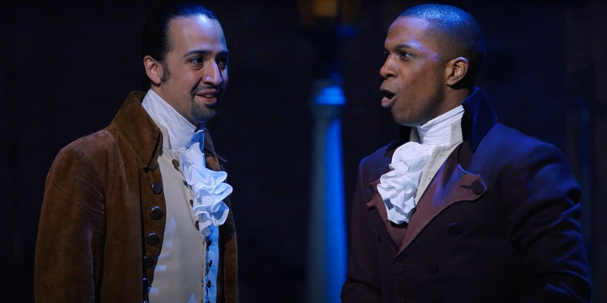 Aaron Burr (Leslie Odom Jr.) sings to Alexander Hamilton (Lin-Manuel Miranda) in 'Hamilton'