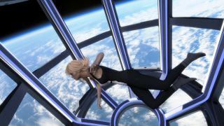 Artists impression of female space tourist floating in zero gravity in a space station