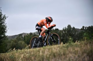 Anna van der Breggen on her way to winning the time trial at the Imola World Championships 2020