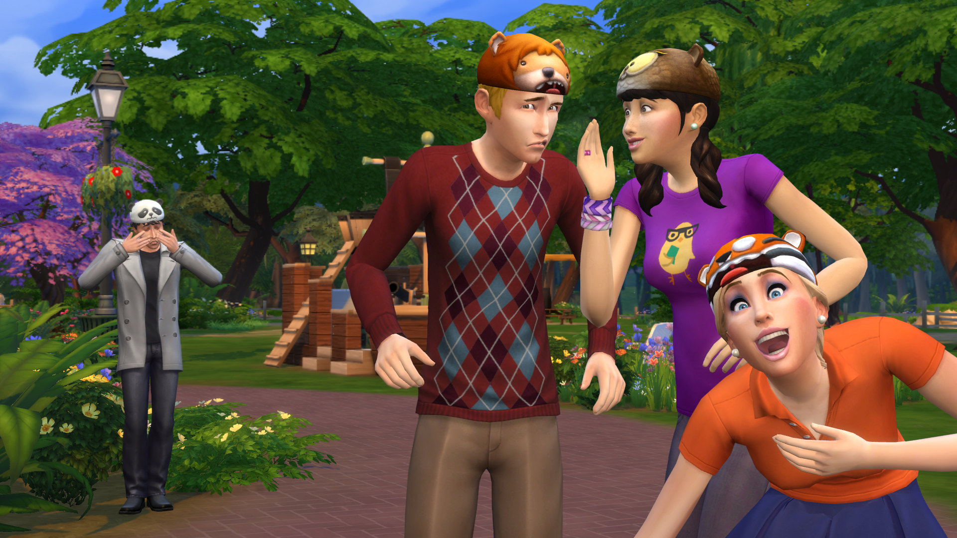 Two Sims are whispering to each other while another laughs. There is a third Sim in the background crying.