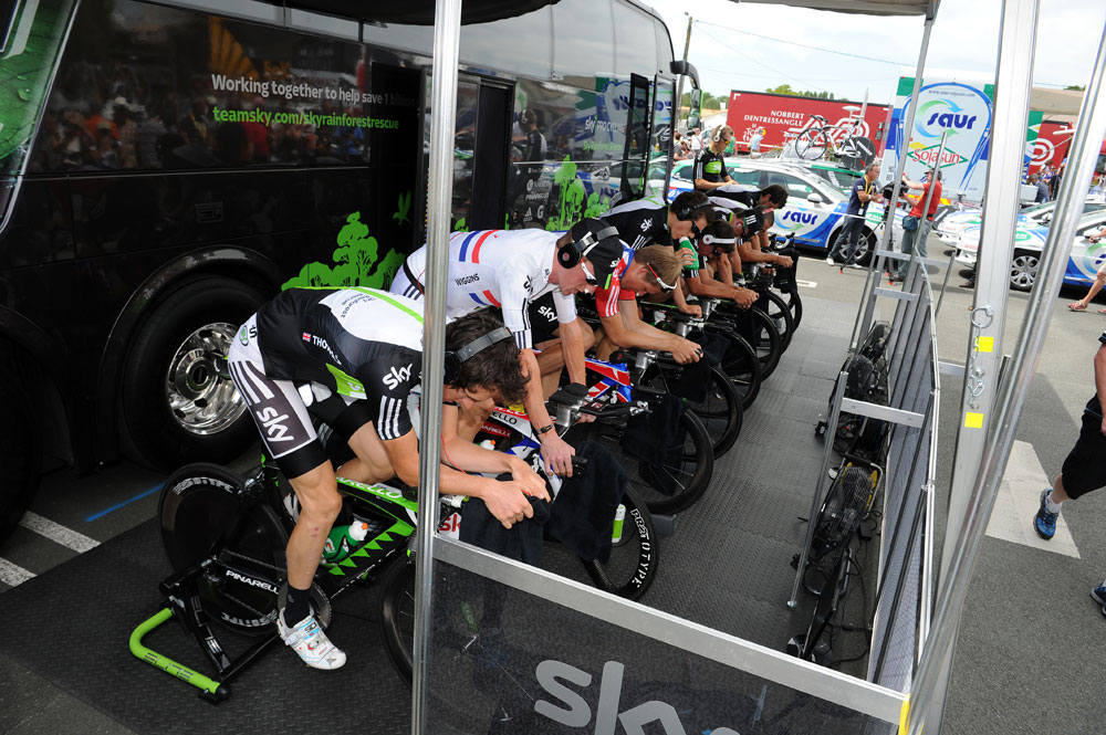 Sky warm up, Tour de France 2011 stage two TTT