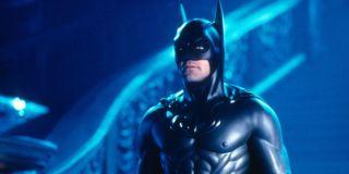 Batman (George Clooney) stands in his batsuit in 'Batman & Robin'