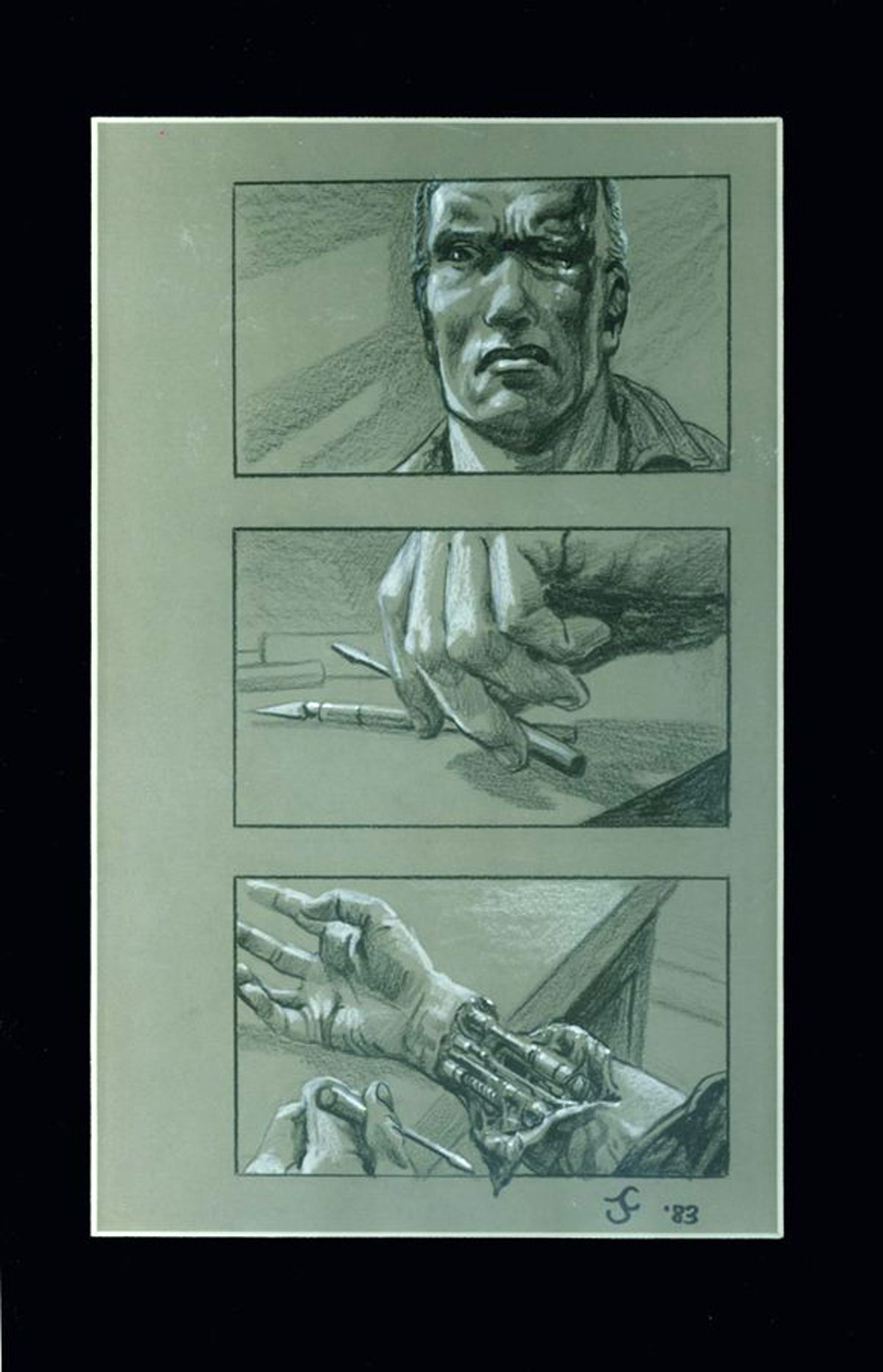 Terminator storyboards drawn by James Cameron, posted by Arnold Schwarzenegger Twitter