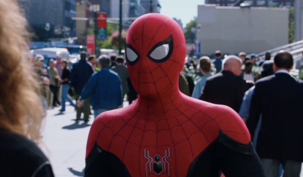 Spider-Man: Far From Home Spider-Man's newest suit in a busy New York setting